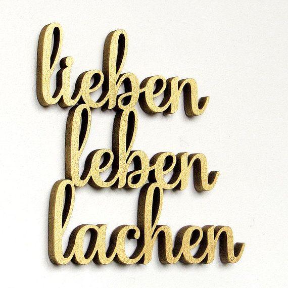 lieben leben lachen  3D Schriftzug Holz von NOGALLERY auf Etsy