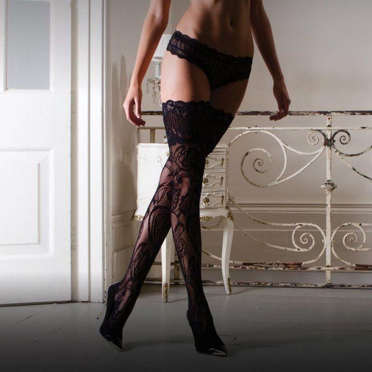 New Luxury Vixen Black Hold Up Stockings ~ Lace ~ Womens Hosiery  | eBay