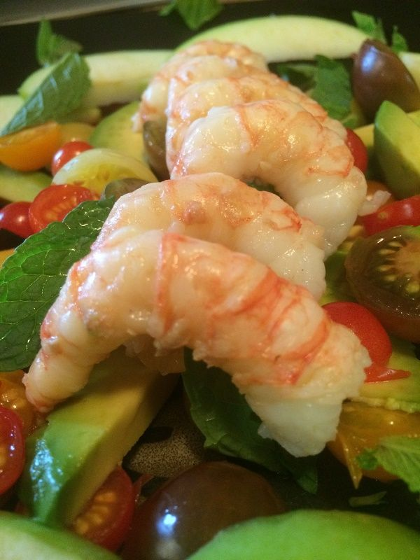 Delicious Avocado Spot Prawn Salad with fresh mint, basil & cherry tomatoes. Excellent Seafood Recipe and Shrimp Recipe. 100% Wild Seafood from Alaska. Once you try this recipe, you'll want to buy seafood from Alaska!