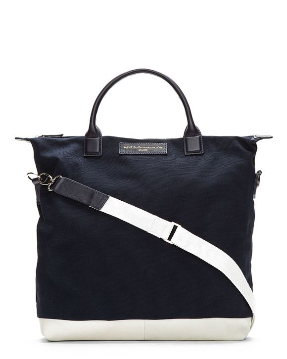 Navy & White leather trim tote bag for men