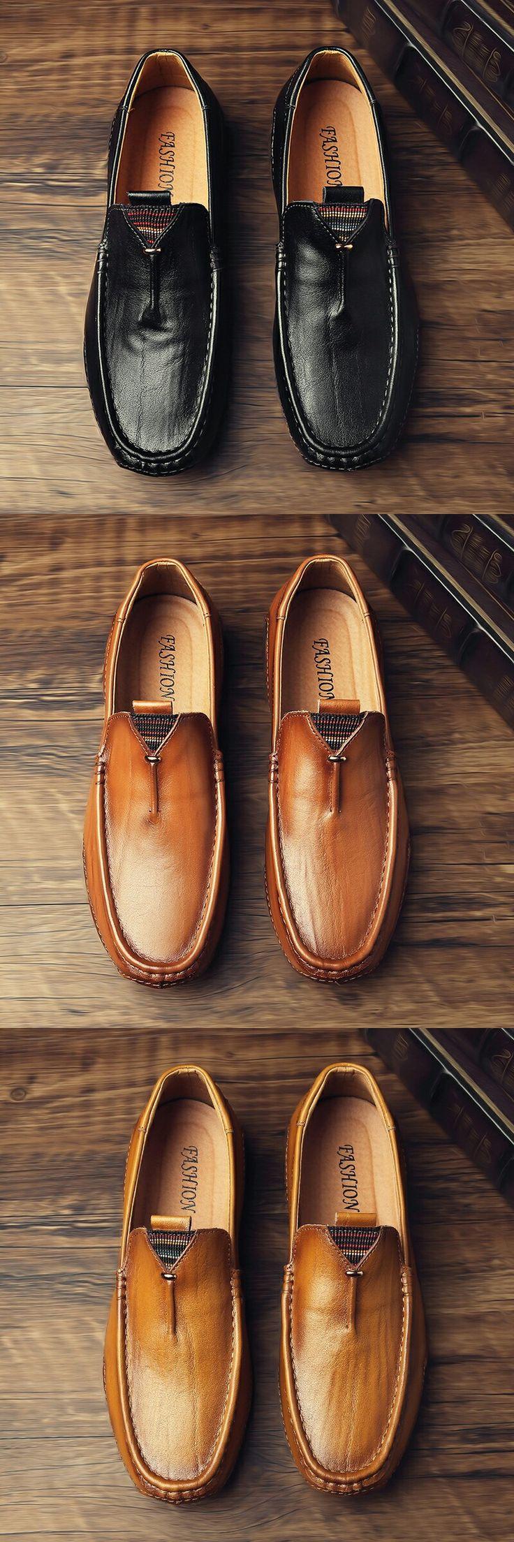 Zapatos de cuero Prelesty Hombres Mocasines ocasionales de cuero genuino de vaca Zapatos antideslizantes de conducción   – Shoes