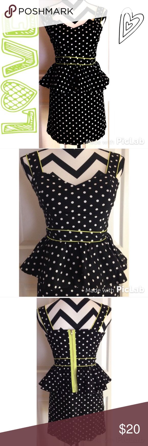 Polls dot zip up dress Super classy, cute and comfortable neocon green and polka dot dress!! Worn a few time but still in excellent condition!! I love this dress but can no longer fit into it!! Dresses Midi