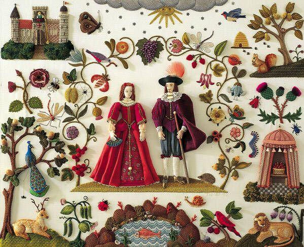 Stump work embroidery by Jane Nicholas