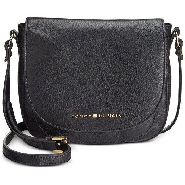 Tommy Hilfiger Pebble Leather Saddle Bag ($88) ❤ liked on Polyvore featuring bags, handbags, shoulder bags, black, tommy hilfiger purses, tommy hilfiger shoulder bag, saddle bags, crossbody purse and crossbody saddle bag