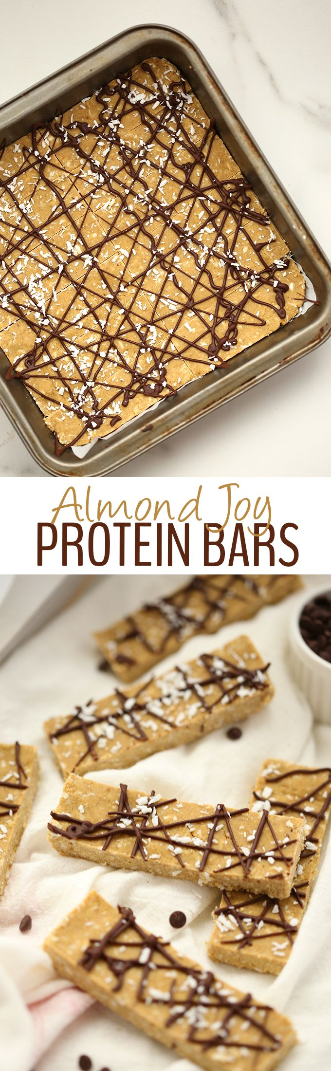 Ditch the store-bought and go for one of these Vegan Almond Joy Protein Bars instead. Made with plant-based protein powder and ready in under 30 minutes (without a food processor!) these healthy, no-bake protein bars will become your new favorite snack.