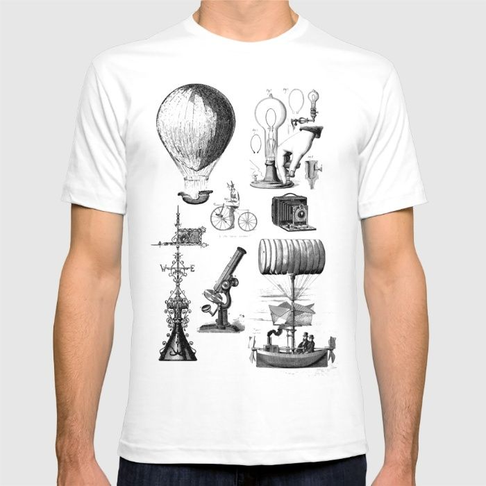 Victorian steampunk science T-shirt by Jennifer Rizzo Design Company on society6