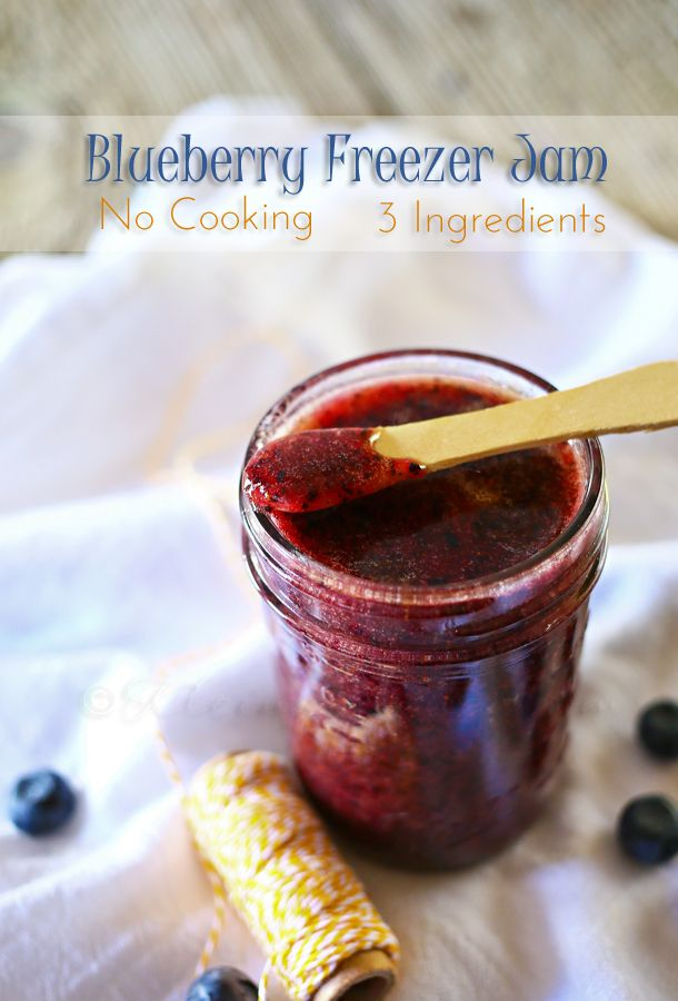 "Blueberry Freezer Jam - 3 ingredients, no cooking (This recipe calls for ""pulsed"" berries but I like to include some that are gently mashed.) Great as a spread or as an ice cream topping. Fresh blueberry flavour!"