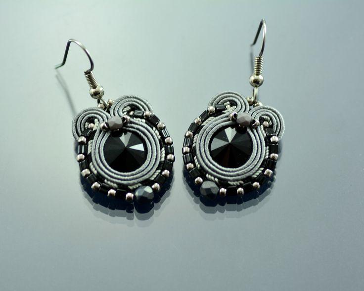 Soutache Earrings, Small Gray Dangle Soutache Earrings, Black Soutache Earrings, Soutache Jewelry, Soutache Earrings Surgical Steel Ear OOAK by OzdobyZiemi on Etsy