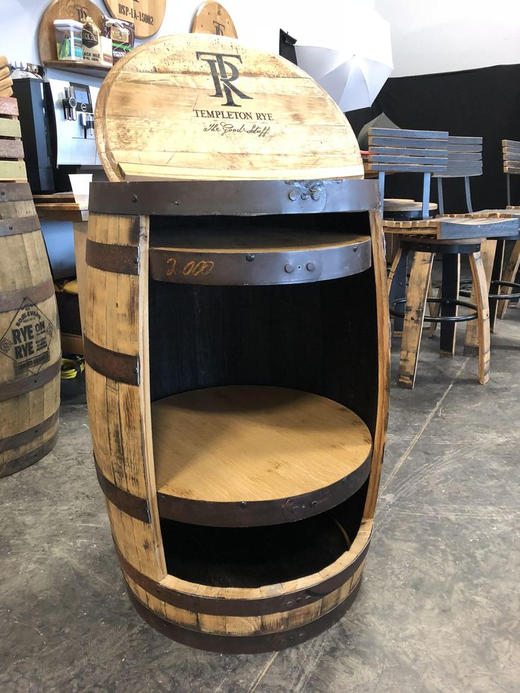 Host stand I made from a whiskey barrel for a local