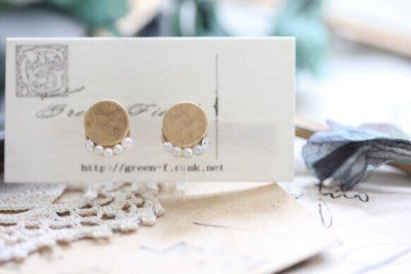 ピアスのようなイヤリング*丸とパールのイヤリング* イヤリング ハンドメイド通販・販売のCreema