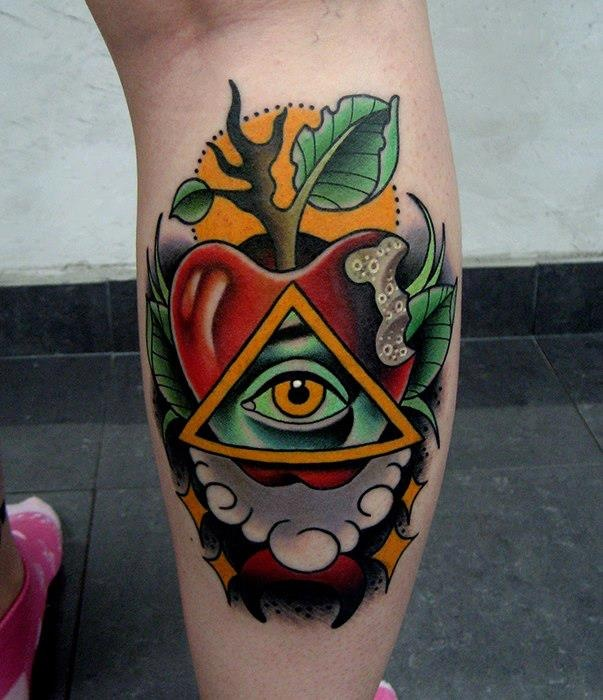 62 Traditional Eye Tattoo Ideas And Designs About Eyes: Jonathon Montalvo - Apple And All Seeing Eye