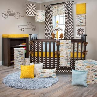 There's a traffic jam on Route 66 and you won't want to miss it!  Vintage pickup trucks, roadsters, VW bugs, motorcycles and station wagons create retro fun in this classic baby boy's bedding collection.  Yellow polka dots, chocolate chevron and blue velvet add stylish color and on point design for today's nursery.