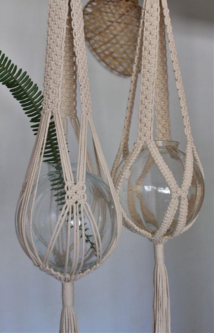 Suspension pour vases en macramé