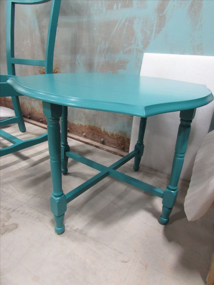 She's done and looking gorgeous! The semi-gloss paint was a beautiful choice as it brings out the grain of the table top without being distracting. Refinishing done by #finishingcreations http://www.furniturebank.org/ChairAffair/ Photo by myself