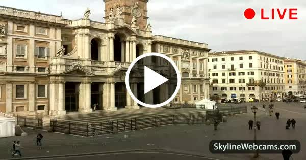 View on the facade of the Basilica of Santa Maria Maggiore, one of the four papal basilicas of Rome