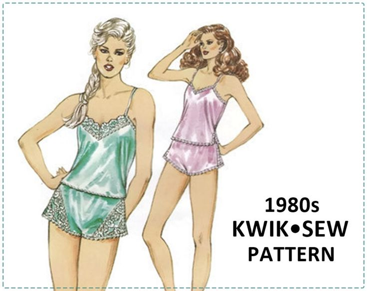 Lingerie Sewing Pattern - Kwik Sew 1409 - 1980s - Lace Camisole & Panties, Lingerie - Size XS S M L, Bust 31-42 - Tap Pants, Side Slits by EightMileVintageSews on Etsy