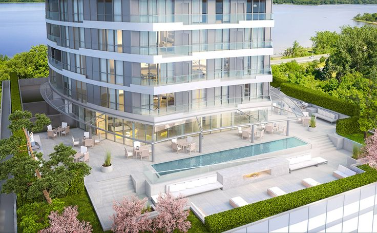 Podium Terrace: Your backyard in the sky, located 6 storeys up! Furnished with lounge chairs, sofas and dining tables, this urban oasis offers a reflecting pool, fireplace, gas BBQs, and lush landscaping for your relaxation.