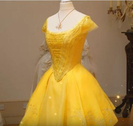 Vestido amarelo A bela e a fera 2017, figurinista Jacqueline Durran