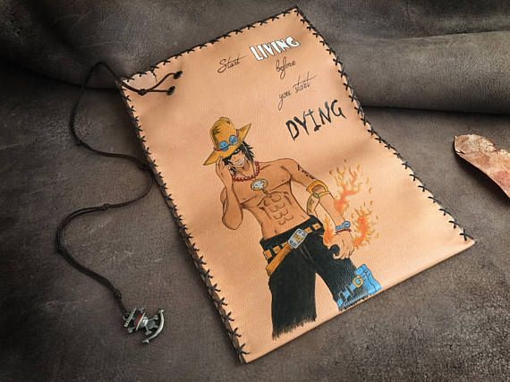 Genuine leather tobacco pouch in natural color. The design was burned with pyrographer and painted with special indelible leather colors. The case can be made for pipe smokers too. Please contact me for costumisation (NOT EXTRA CHARGED) If you like anime, Pirates, Action, Fire and