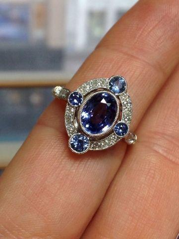 Sapphire ring floating halo, Pricescope. Custom order.