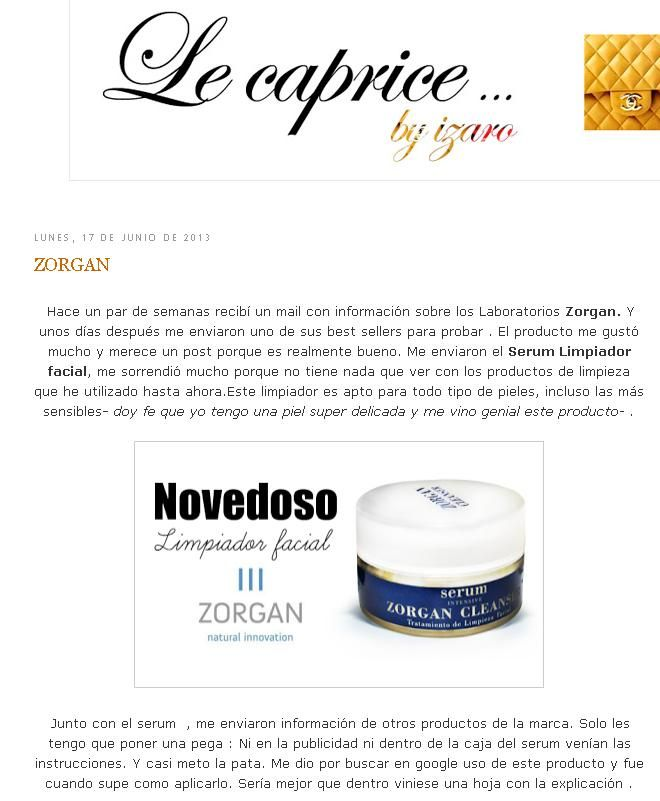 """Blog: """"Le Caprice by Izaro"""". Producto: Zorgan Cleanser."""