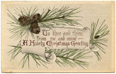 Vintage Christmas Graphics - Pine Branch Frame - The Graphics Fairy