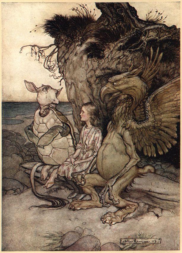 Arthur Rackham Alice in Wonderland illustration. Mockturtle and Griffin.