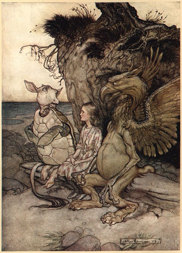 Arthur Rackham Alice in Wonderland illustration. Mockturtle and Griffin.