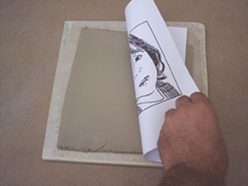 Ink transfer on clay.