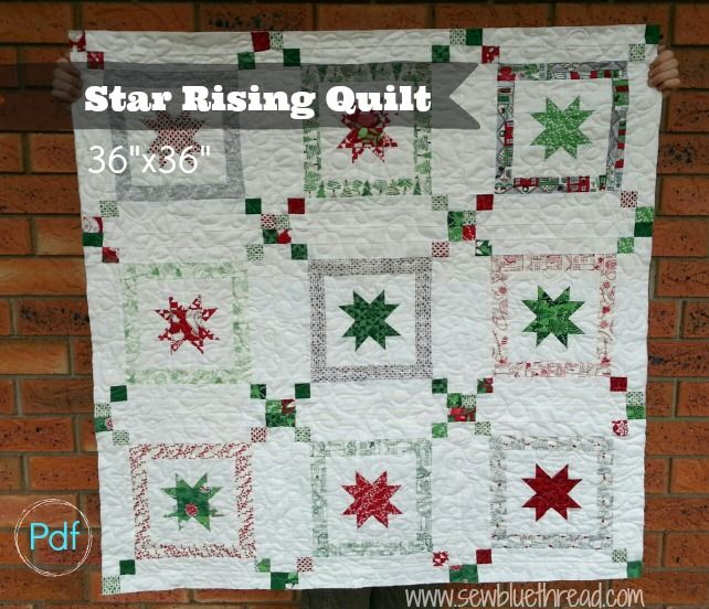 Star Rising Quilt pdf pattern can be found in the shop. Easy to make.  Takes 2  x charm packs and 1.5 metre white background fabric to complete the quilt top.