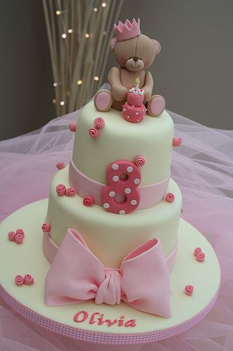 cake- simple cute cake pink or blue with sweet teddy bear or ? on top!  For boy or girl