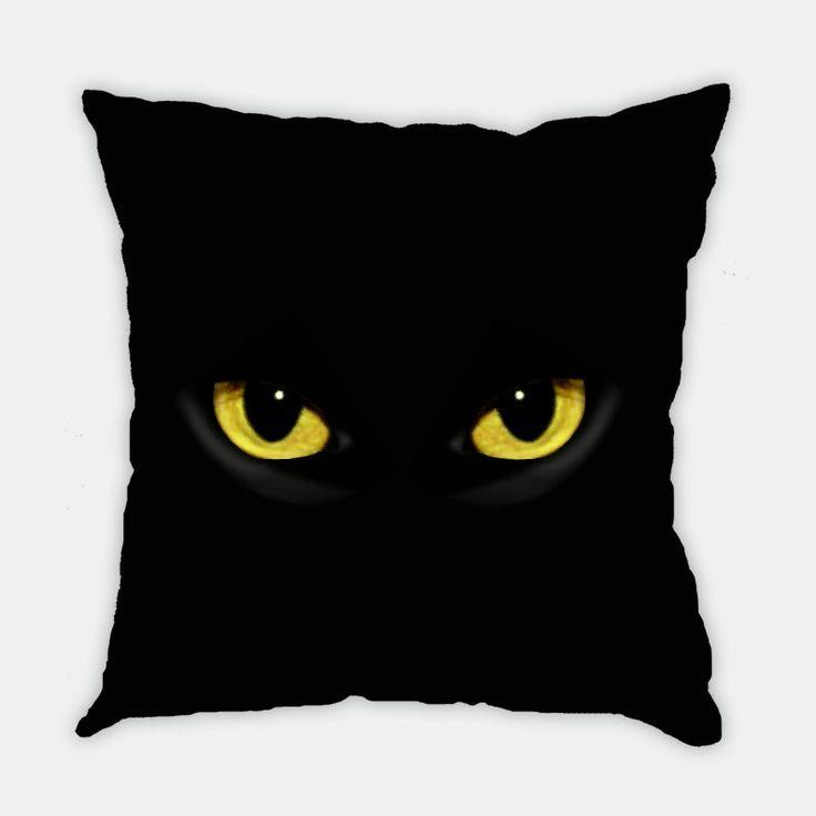 Yellow-eye Black Cat Cushion Cover
