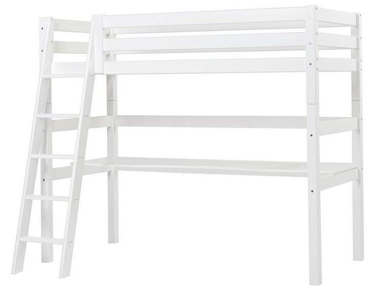 HoppeKids+Premium+Højseng+-+Funktionel+og+smart+hvid+højseng+fra+HoppeKids.+Højsengen+har+en+skrå+stige,+så+dit+barn+let+kan+komme+op+i+sengen.+Den+hvide+højseng+har+en+soveplads+øverst,+og+et+stort+åben+rum+under+sengen+med+et+indbygget+skrivebord,+hvor+dit+barn+kan+have+lov+til+at+være+kreativ,+lege+og+lave+lektier.