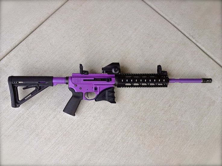 "Check this one out for the ladies...or for, you know...the ""secure man"". AR15 in Bright Purple. www.madcustomcoating.com"