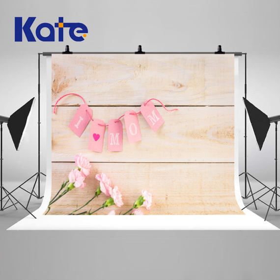 Retro Wood Wall Photography Backdrops Pink Flowers And Card