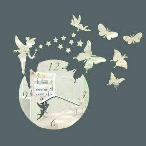 Design nástenné hodiny motýľ , zrkadlové .