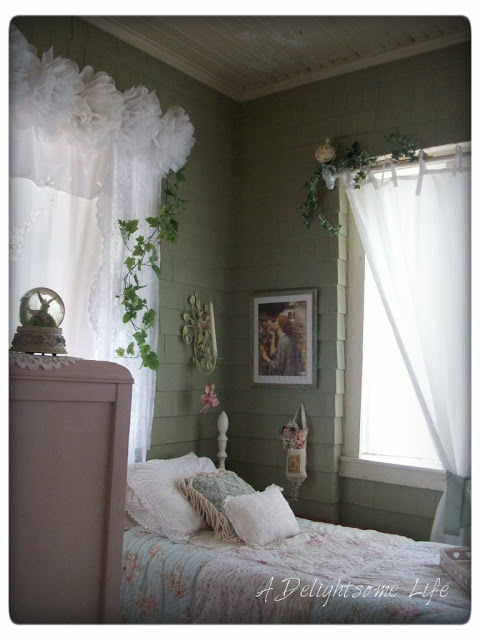 A Delightsome Life: Romantic - Garden Cottage Style    Curtains with flowers on top!