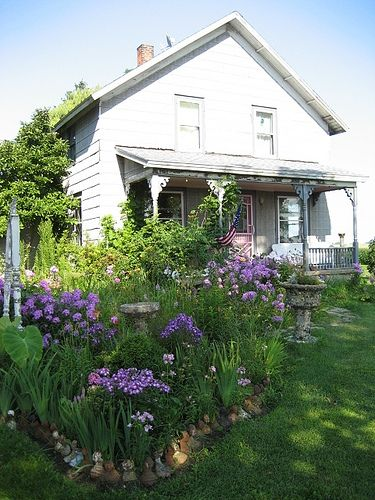 Cottage on the hill.....purple cottage gardens...
