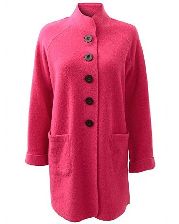 Boiled Wool Funnel Coat Our Funnel Boiled Wool Coat is a great investment piece for winter. Featuring big functional pockets, bold buttons and a funnel neck. This coat will keep you warm while adding a bold touch to your look. Team with our cords trousers and layer with knitwear for a chic look.
