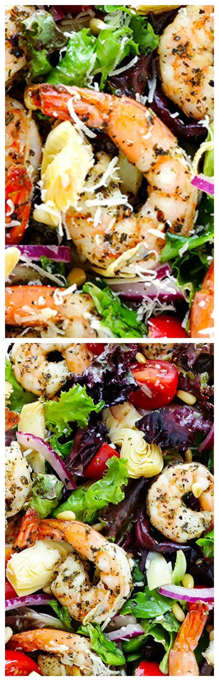 Shrimp and Artichoke Green Salad ~ Made with quick and easy Italian-herb shrimp, lots of artichoke hearts, fresh tomatoes, toasted pine nuts, and then it's all tossed together with a zesty lemon vinaigrette... So simple, yet so much flavor!