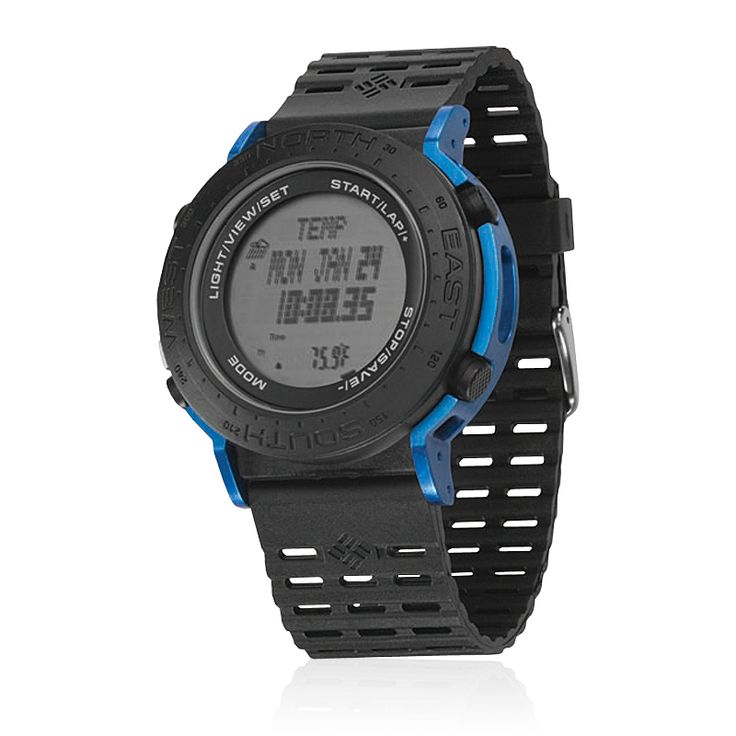 # Columbia - Treeline - Altimeter Barometer Digital compass Temperature 200 Tide Locations 24 Hour chronograph Lap splits/Data memory 5 Interval timers The Treeline watch is a great sport watch for your outdoor adventures in the elements.