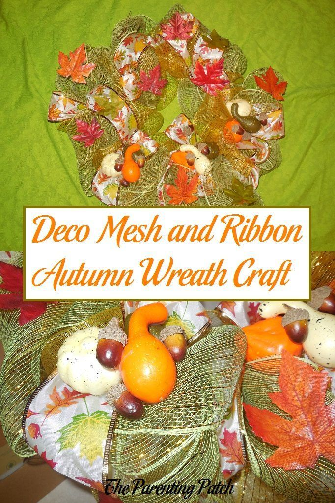 How to make a wreath for autumn using deco mesh and printed ribbon with artificial leaves, acorns, squashes, and pumpkins as decorations.