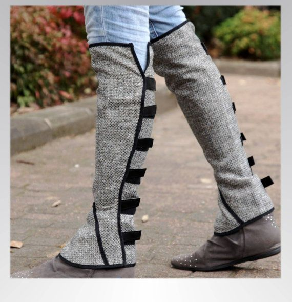 Grey Linen leg warmers / leggings , velcro straps around the back, small or medium size
