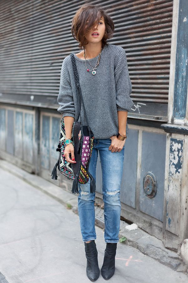 slouchy sweater, distressed jeans