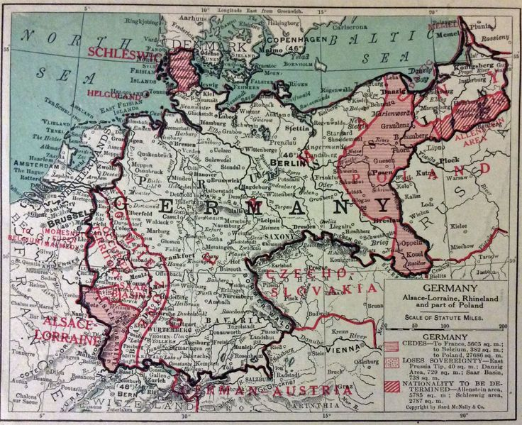 post WWI Germany map showing areas of  treaty negotiations and new national boundaries in Europe / Library of Congress, USA