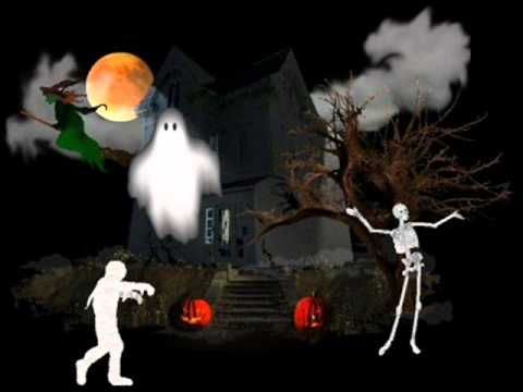 Musique ambiance Halloween, environ 10 min, description des bruits (loup, sorcière...)