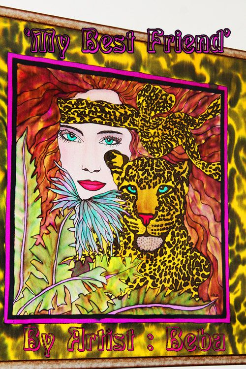 My Best Friend - Original woman with Leopard in Jungle Silk painting for Home/room decor/art deco - pinned by pin4etsy.com