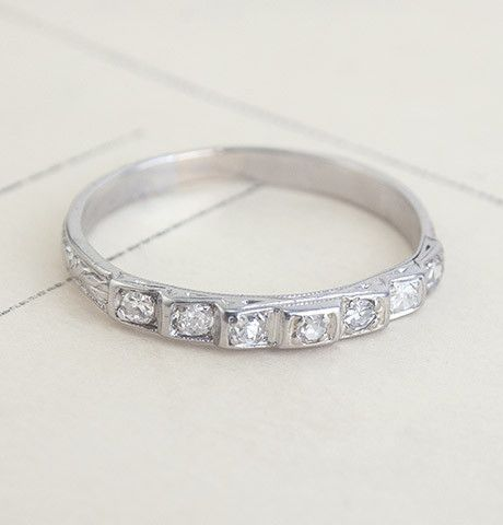 Platinum Seven Diamond Ziggurat Wedding Band, $895.00