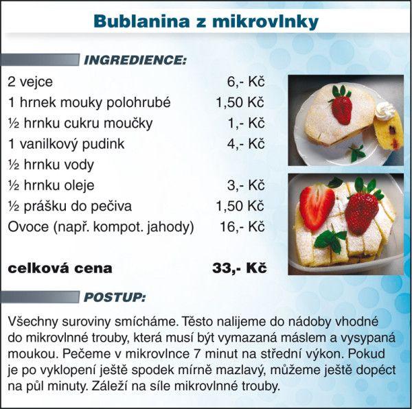 Levně a chutně s Ladislavem Hruškou - Bublanina z mikrovlnky - recept