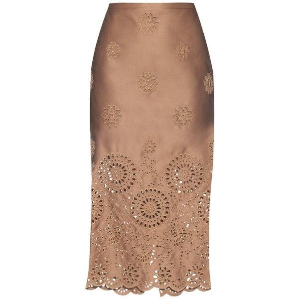 Rochas Broderie-anglaise duchess-satin pencil skirt (23.408.440 VND) ❤ liked on Polyvore featuring skirts, beige, calf length pencil skirt, high waisted skirts, high-waist skirt, print midi skirt и print pencil skirt